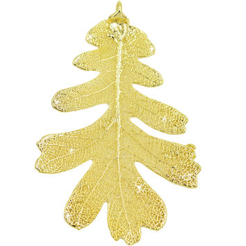 "Real Leaf Christmas ORNAMENT Lacey OAK 3"" Dipped in 24K Yellow Gold"