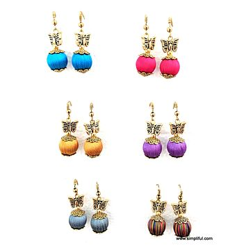 Silk Thread silk bead butterfly casual hook drop Earring