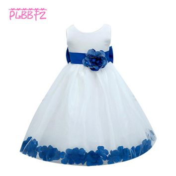 Retail Appliques Flower Girl Dresses With Big Bow Party Pageant Ankle-Length Dress Sleeveless Ball Gown for Wedding LP-56