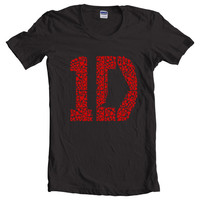 One Direction 1D Love Black Women T-Shirt size S to 2XL tee