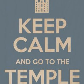 'Keep Calm and Go To Temple' - Plywood Wood Print Poster Wall Art