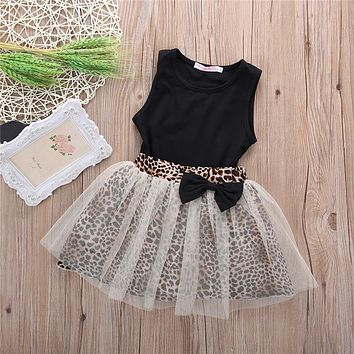 Toddler Girl Leopard Skirt and Black Tank Set