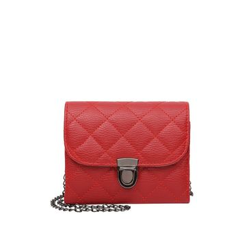 Red Push Lock Quilted Pu Chain Crossbody Bag