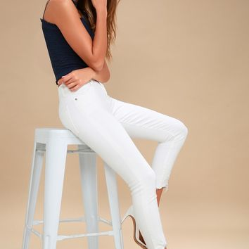 Sophie White High Rise Cropped Skinny Jeans