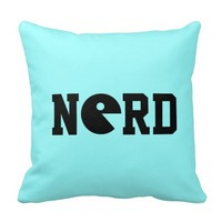Old-School Nerd Reversible Throw Pillow