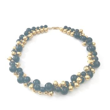 Napier Gold and Dark Navy Beaded Collar Necklace, Gold Plated Spheres or Beads, Hard Resin Beads, Twisted Torsade, Vintage Gift for Her