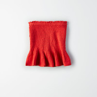 AE Smocked Bandeau Tube Top, Red