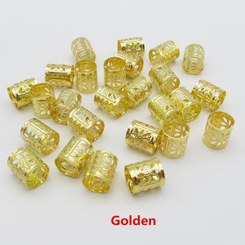 100pcs/lot Golden/Silver /Mix Silver Golden hair braid dread dreadlock beads adjustable clips approx 7.5mm hole