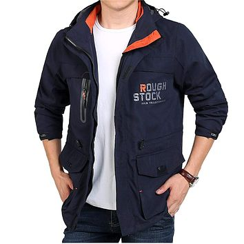 Mens Windproof Jacket with Removable Hood