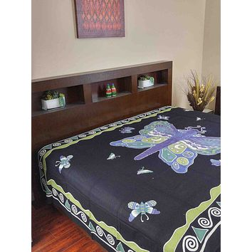 Handmade Cotton Hand Block Print Butterfly Bedspread Coverlet Bed Sheet Tapestry Tablecloth Twin Black