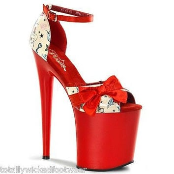 "Flamingo 875 Ankle Strap Sandal W/ Bow Tattoo Print 8"" Heel Shoe Red"