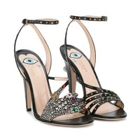 DCCKIN3 Gucci Crystal Hand Applique Embellished Sandals