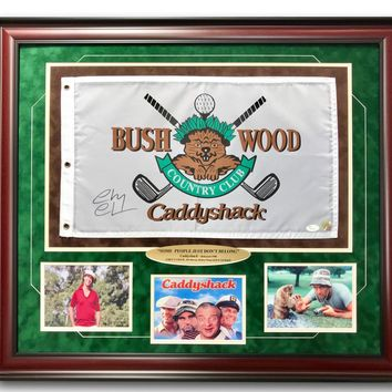CHEVY CHASE SIGNED CADDYSHACK FLAG FRAME COLLAGE COA JSA BUSHWOOD PIN AUTOGRAPH