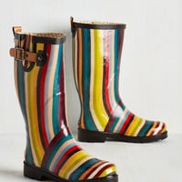 Colorblocking Puddle Jumper Rain Boot in Stripes