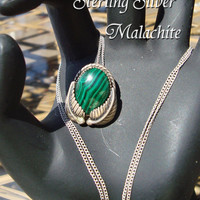Vintage Jewelry Southwestern Malachite Sterling Silver Necklace Handcrafted