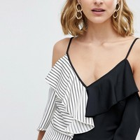 River Island Ruffle Stripe Cami Top at asos.com