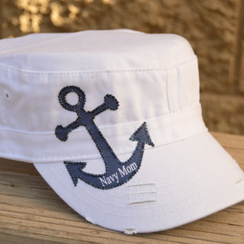 US Navy Mom Hat rhinestone anchor and Navy rhinestone USNA personalization on hats brim