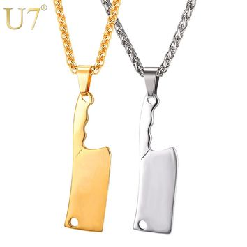 U7 Big Kitchen Knife Charms Pendant Necklace For Men Gift Broadsword Necklaces Hip Hop Jewelry Stainless Steel Gold Color P1107