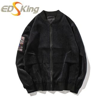 Mens Embroidery Jacket Male Cool Polyester 90% Nylon 7% Spandex 3% Man Patchwork Bomber Jackets Letters Printed Striped Raincoat