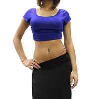New Basic Solid Plain Crew Neck Cap Sleeve Belly Crop Top Shirt Size SML BST0110