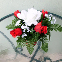 Silk Floral Arrangement, Valentine's Day Roses, Red Roses, Clay Pot (V5)