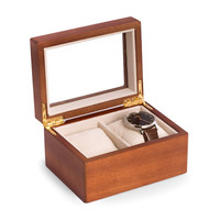 Cherry Wood 2 Watch Box with Glass Top
