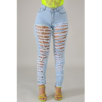 HOT GIRL DISTRESSED DENIM