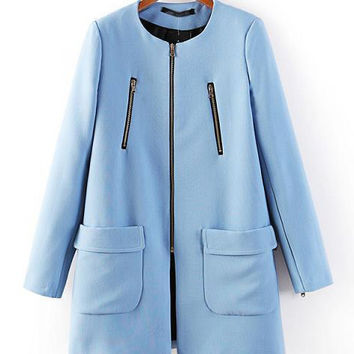 Blue Zip Long Sleeve Big Pocket Coat