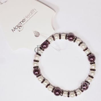 MagneHealth Burgundy and White Magnetic Beads Stretch Bracelet
