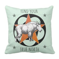 True North Mountain Goat Throw Pillow
