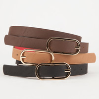 3 Reversible Skinny Belts Multi  In Sizes