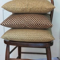 """Woven Wicker Basket Print Throw Pillow in Gold and Brown Trompe l'oeil  17 x 17"""" 100% Cotton Square Ready to ship"""