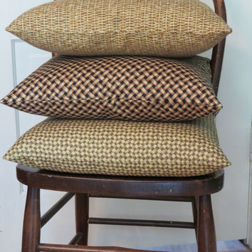 "Woven Wicker Basket Print Throw Pillow in Gold and Brown Trompe l'oeil  17 x 17"" 100% Cotton Square Ready to ship"