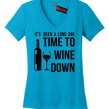 Long Day Time To Wine Down Funny Ladies VNeck T Shirt Alcohol Party Wife Gift Z5