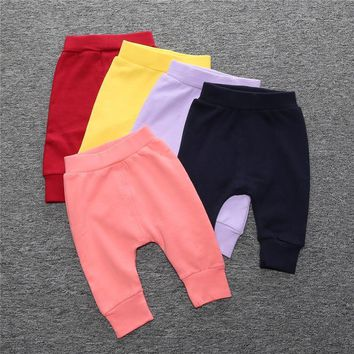2018 New Baby Pants Cotton Spring Newborn Trousers Solid Color Children Long Pant