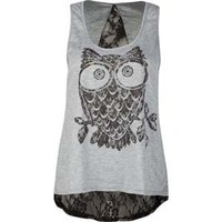 DESTINED Lace Back Owl Womens Tank