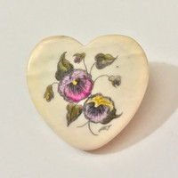 Antique Bakelite Heart Shaped Brooch / Signed Carved Bakelite Pin / Hand Painted Floral Design / Purple Yellow Pansies / Pansy Heart Pin