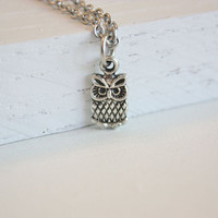 Tiny Owl Necklace, Tibetan Silver, Stainless Steel Hypoallergenic Chain With Clasp