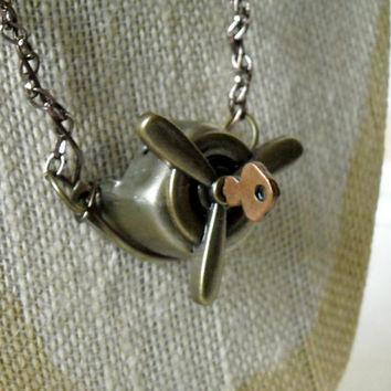 Aviator necklace, steam punk necklace, chain and pendant, brass necklace, key necklace,airplane propeller ,