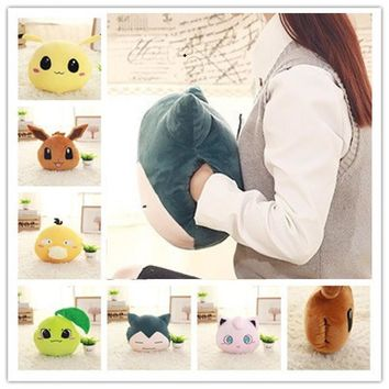 Hot Creative Hand warmer soft pillow Snorlax Psyduck Jigglypuff Eevee Plush Toy for children office Plush Anime Stuffed DollKawaii Pokemon go  AT_89_9