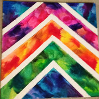 18x18 chevron melted crayon art by TimetostART on Etsy