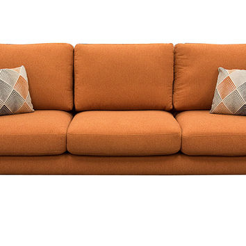 Keppel Solid Fabric Sofa With Accent Pillow