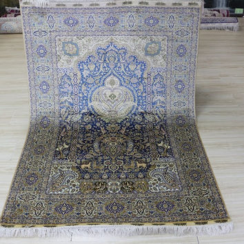 Very Nice 4'x6' Hand Woven Pure Silk Rug Floral Vase Pattern with Deer, Crane, Rabbit, Birds (SYX-4602, Multi Color)