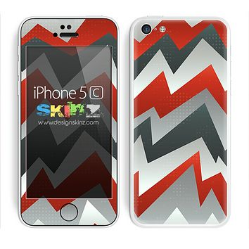 Abstract Red and Gray Chevron Pattern V2 Skin For The iPhone 5c