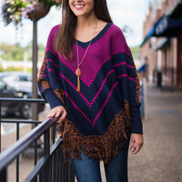 Almost Famous Poncho, Navy/Pink