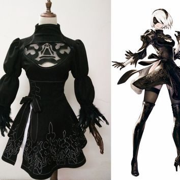 New 2017 Game Nier Automata Cosplay Costume YoRHa 2B Adult Outfit Carnival/Halloween Costumes for Women Custom Any Size