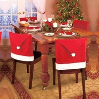 4 Pcs Santa Red Hat Chair Covers Christmas Decorations Dinner Chair Xmas Cap Sets (Size: 65cm by 50cm, Color: Red)