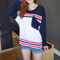 A 081909 y Stitching bat sleeve loose big yards T-shirt