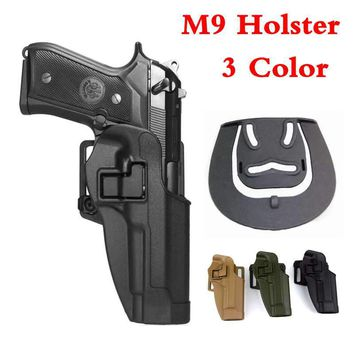 Tactical Military Right Hand Pistol Gun Holster With Waist Paddle Belt Fits Beretta M9 M92