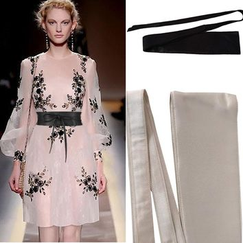 Satin Cloth Dress Coat Waist Belt [2974245120]
